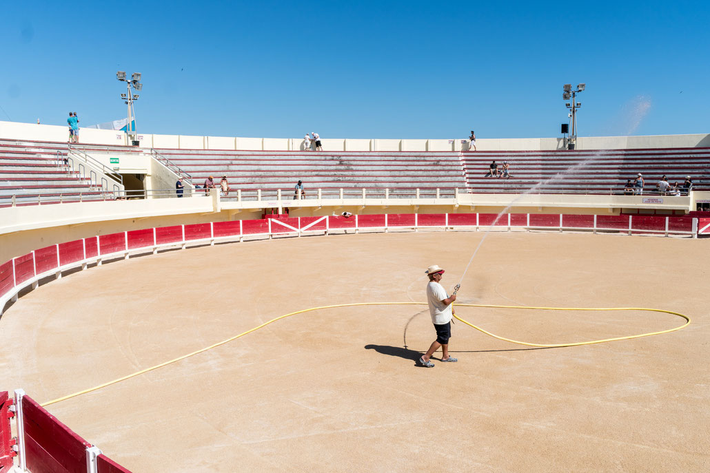 Preparing the arena