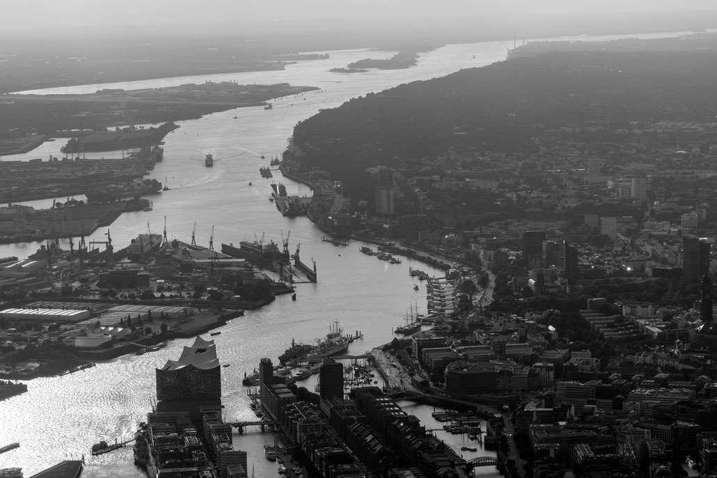 Aerial of the Elbe river in Hamburg during sunset