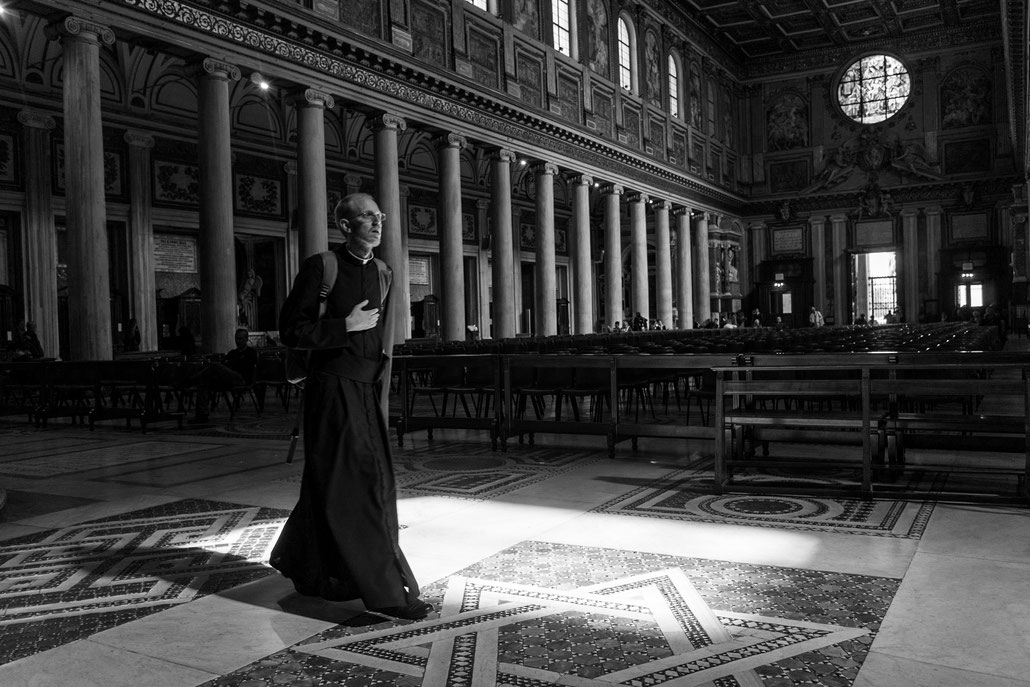 "Rome offers a church for every day of the year. This is Santa Maria Maggiore near Central Station which had some nice light ""enlightening"" this cleric."