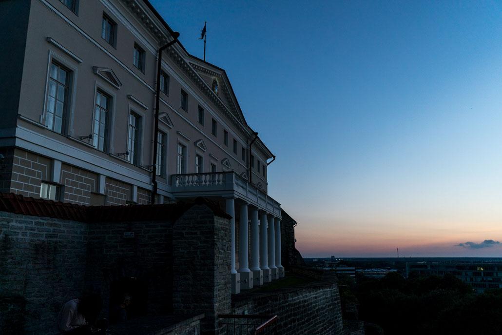 The Estonian parliament during blue hour