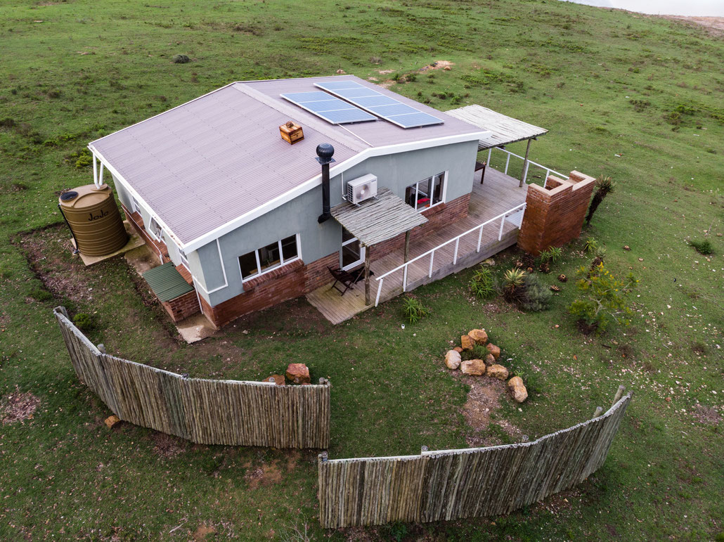 Aerial of the Dam Cottage at Fort Governors Estate, Eastern Cape, South Africa
