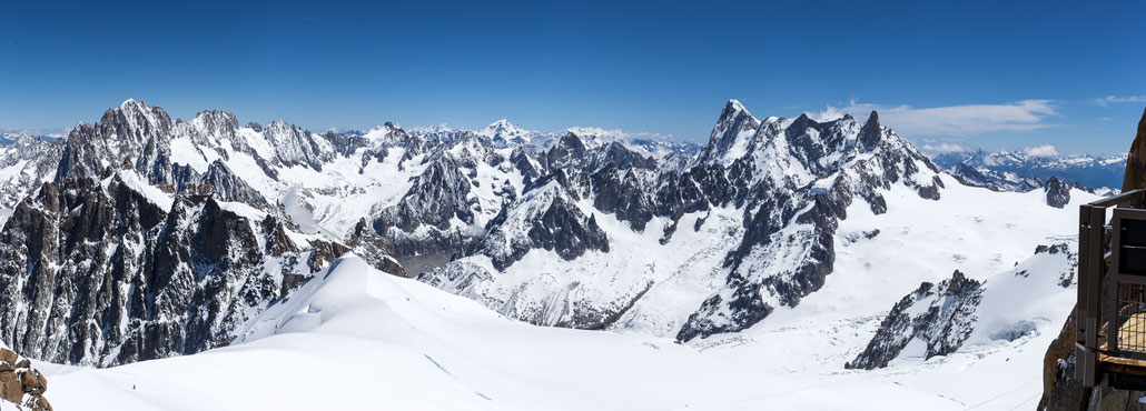 A stitched panorama showing parts of the Mont Blanc massif