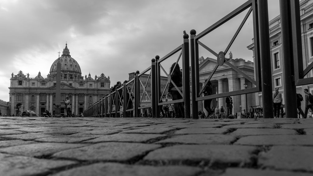 My favorite angle of St. Peter's Basilica is this from down low looking over the cobblestone and St. Peter's square.