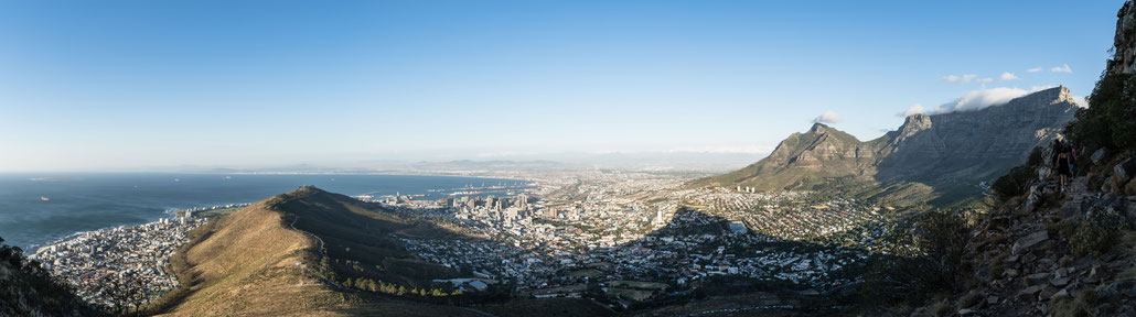 Table Mountain, Capetown's city bowl and Signal Hit seen from Lion's Head before sunset
