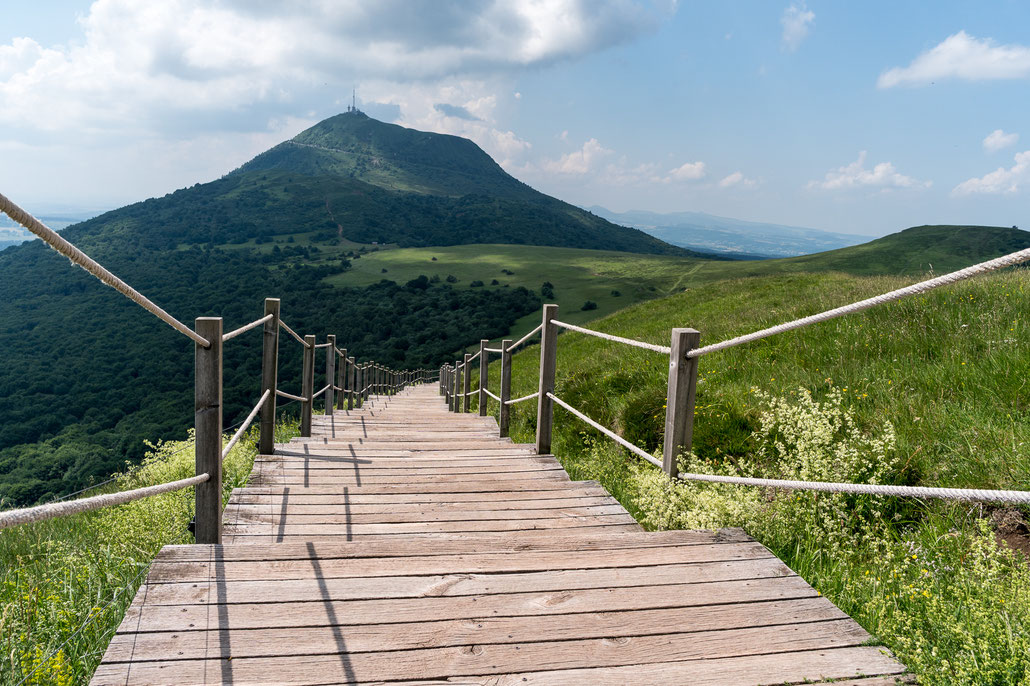 Wooden walkway towards Puy de Dome at Auvergne, France