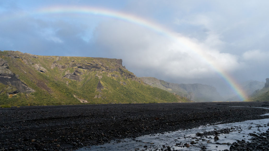 A rainbow like this is even more special in Þórsmörk