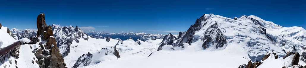 This pano is stitched of 33 (!) vertical pictures and has the Mont Blanc at the very right. Zoom in for full detail!
