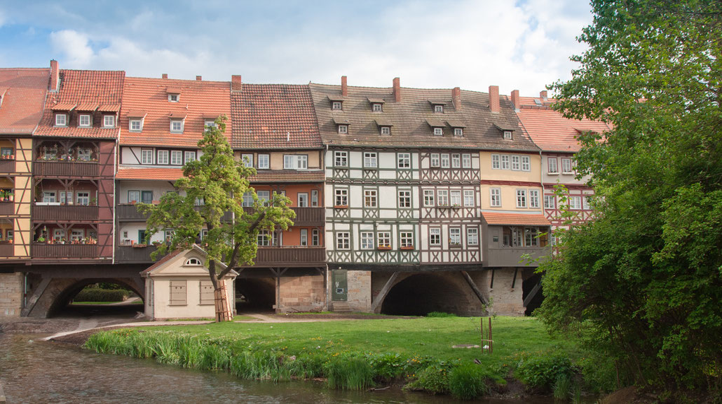 Die Krämerbrücke in Erfurt, Ansicht von Norden