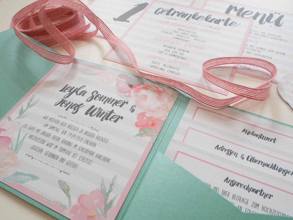 Pocketfold Einladung, Juhu Papeterie, Karlsruhe, individuell, vintage, mint, rosa, Hochzeit, invitation, wedding, pocket, fold, Einleger, Design, modern, romantisch, Karlsruhe