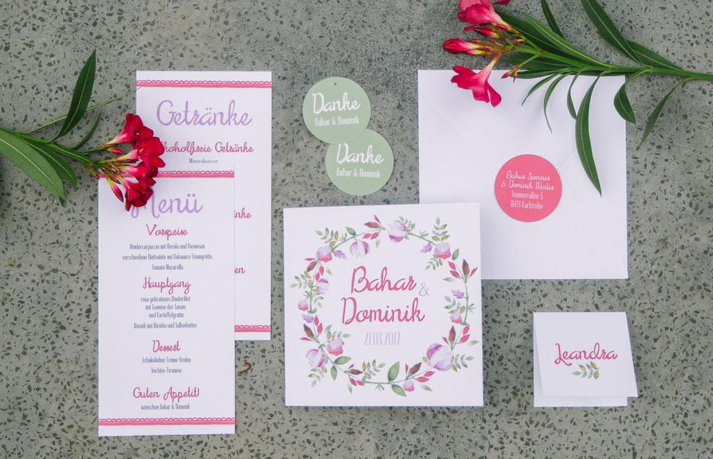 Juhu Papeterie, Hochzeitsset, rot, grün, magnolia, rosa, lila, individuell, hochzeitseinladung, Karlsruhe, deutschland, Wasserfarben, wattercolor, Blumen, fuchsia