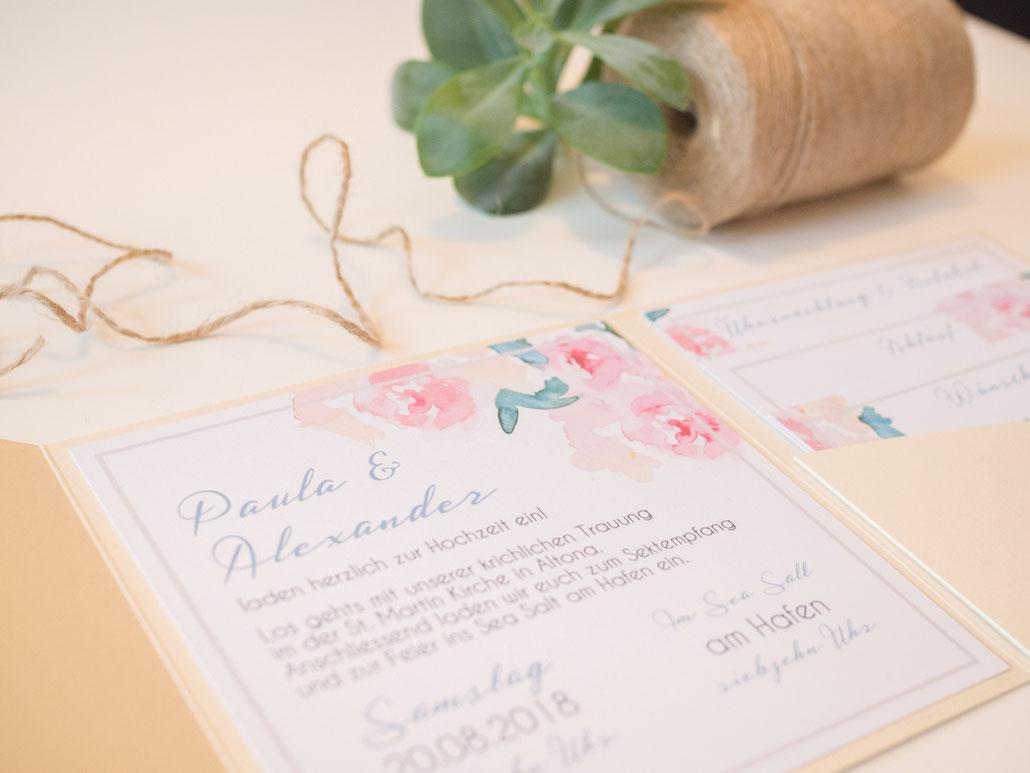 Hochzeitspapeterie, Hochzeitsset, Pastell, mint, rosé, Pocketfold, pocketfold-einladung, juhu, Papeterie, Karlsruhe, beige, creme, hochzeitseinladung