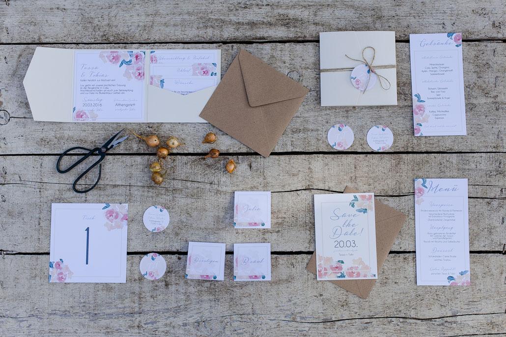 Hochzeitspapeterie, Pocketfold-Einladung, Pocketfoldset, paste, creme, rosa, elegant, Vintage, Kraftpapier, Menükarte