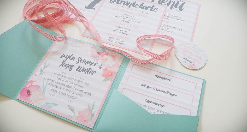 Pocketfold, Hochzeitseinladung, Juhu Papeterie, Karlsruhe, Vintage, mint, rosa, modern, Streifen