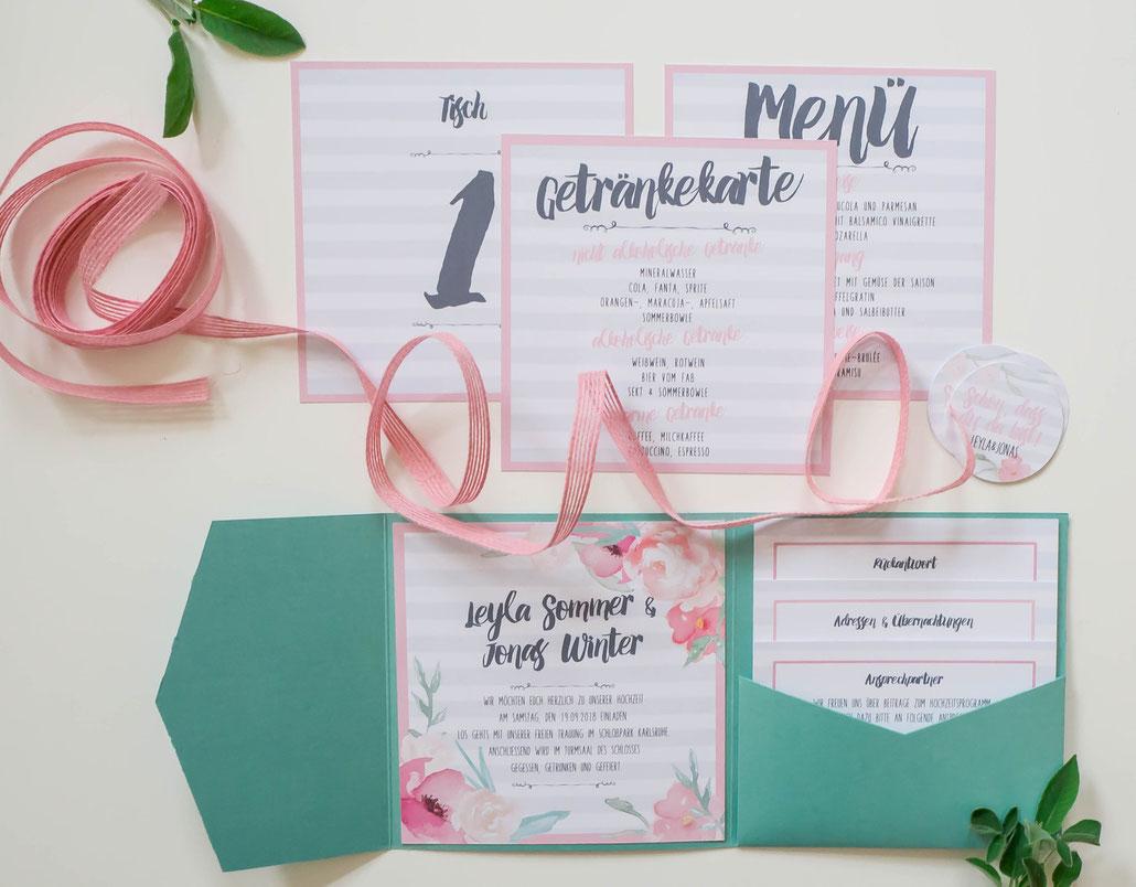 Juhu Papeterie, Hochzeitseinladung, wedding invitation, Pocketfold, Pfingstrosen, Anemonen, Blumen, Karlsruhe, quadratisch, mint, rosa, vintage