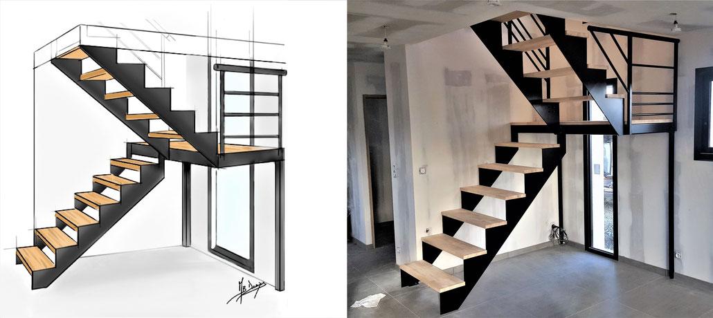 Etude, projectio et réalisation de votre escalier, verrière, mobilier sur mesure - Métal Bois Design
