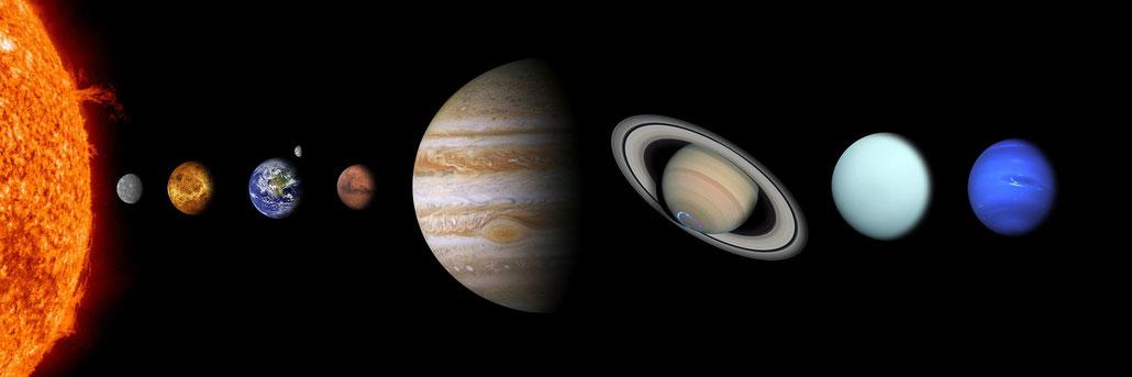 unser Planetensystem, Sonne, Merkur, Venus, Mars, Jupiter, Uranus, Neptun, Pluto