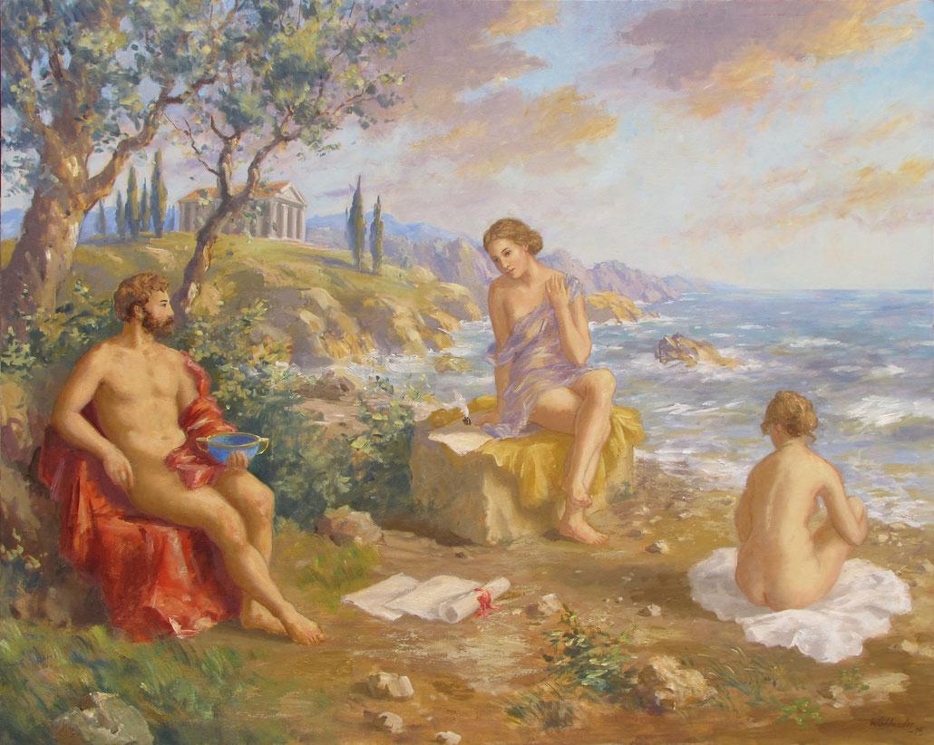 Tony Wahlander (Wåhlander)  œuvre philosophique, tableau représentant Sappho et ses compagnons