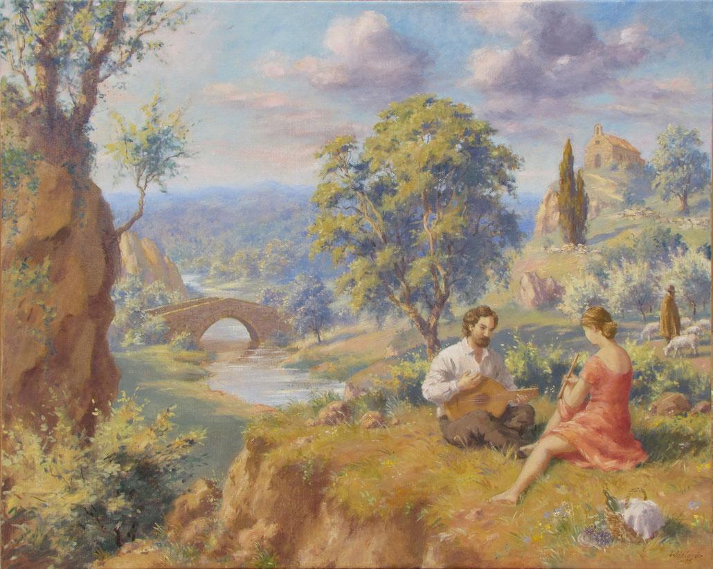 Tony Wahlander (Wåhlander) Tableau en hommage à son amour pour la Provence et les provenceaux