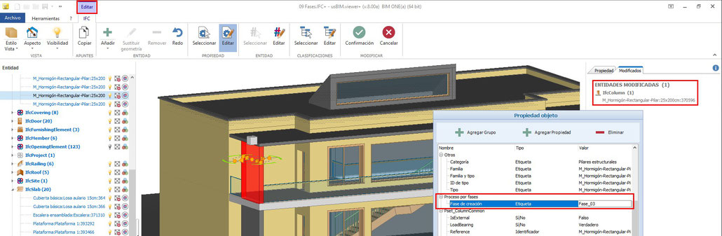 usBIM.viewer+ – Ejemplo de modificación de propiedades de objetos del modelo
