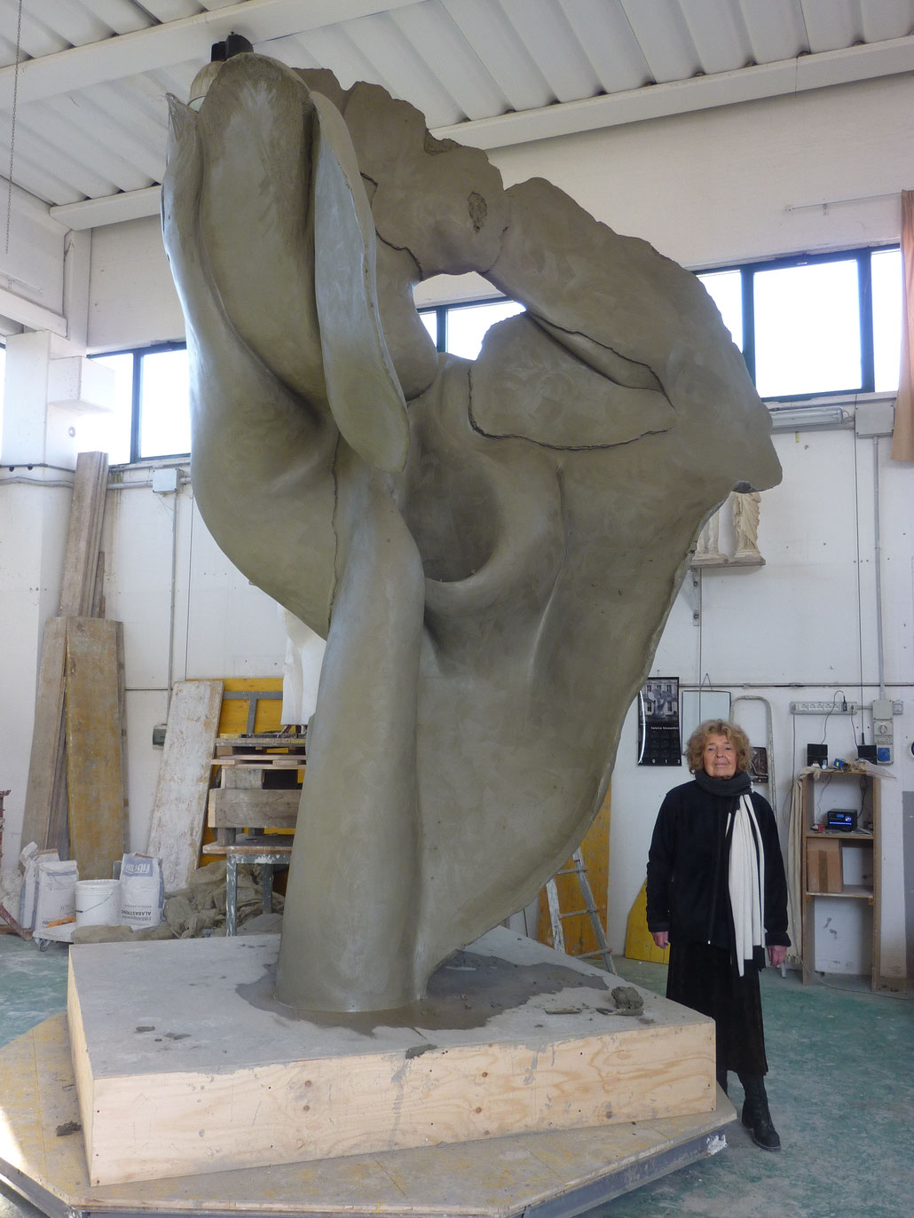Helaine Blumenfeld OBE and her clay model for TEMPESTA in bronze. This sculpture has been cast at Fonderia Artistica Mariani in Pietrasanta, Italy.