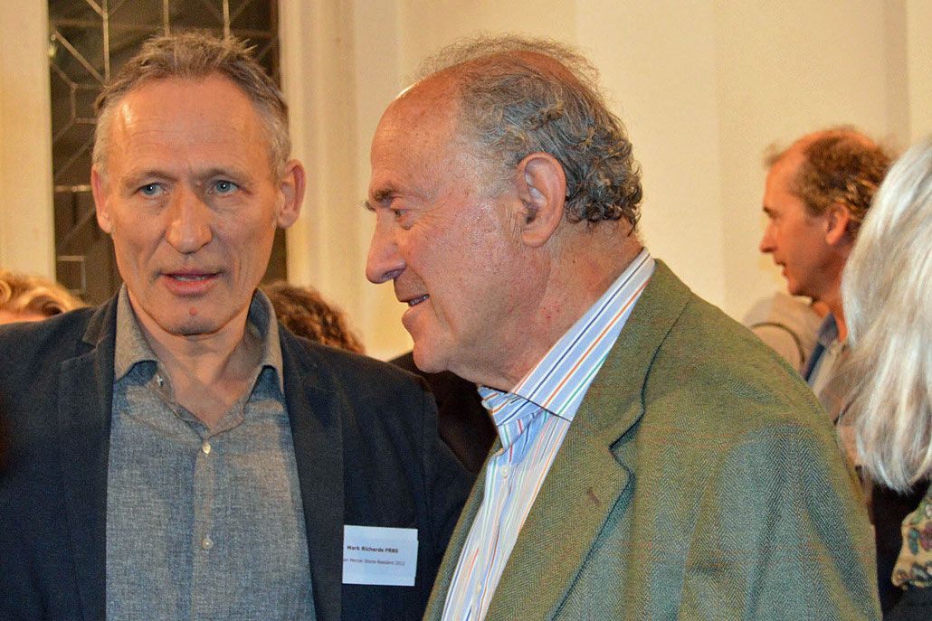 Sculptor Mark Richards and the husband of Helaine Blumenfeld, Yorick Blumenfeld, at the opening of a bronze exhibition by the sculptor HEX.