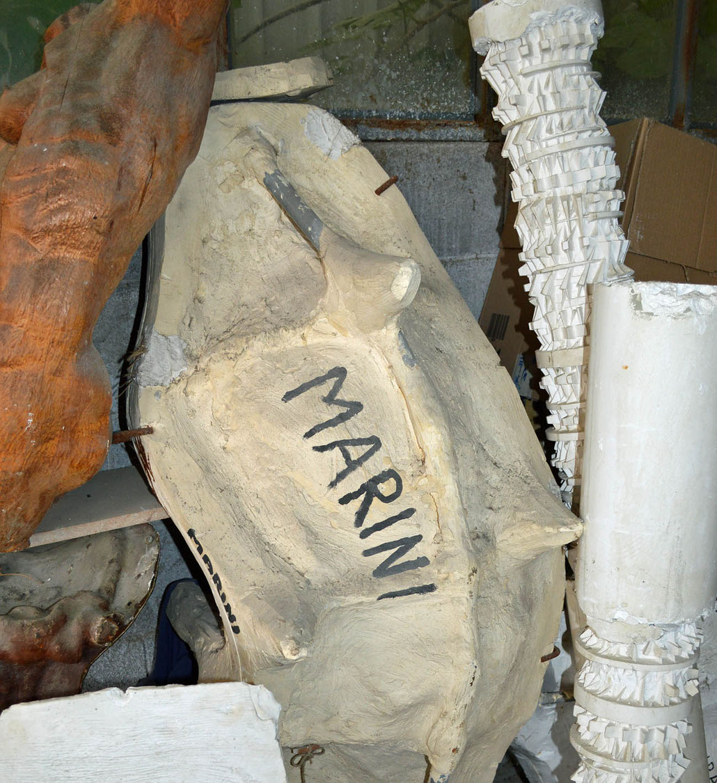 A very old mould of Marino Marini in storage