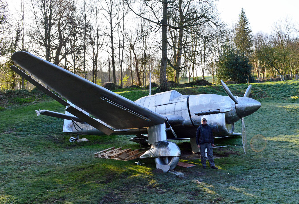 Contemporary sculpture of a crashed JU 87 STUKA by sculptor HEX at Burghley House Sculpture Park. Miranda Rock Cecil is director of the BHPT.