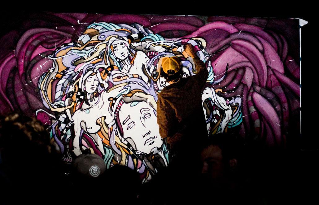 Matt.B, Peintures, performance, paintings, artiste, mattb, matthieu belleville, live painting, live, art, artcontemporain, street art, urban art, la ruda, track'n'art, festival