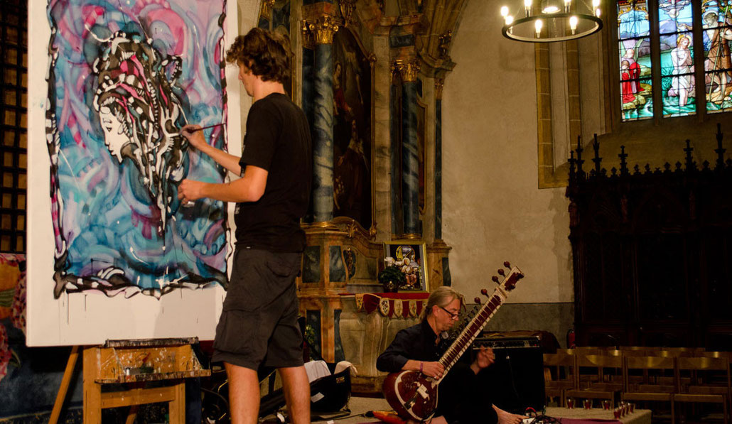 Matt.B, Peintures, performance, paintings, artiste, mattb, matthieu belleville, live painting, live, art, artcontemporain, street art, urban art, mahadev cometo, sitar electro