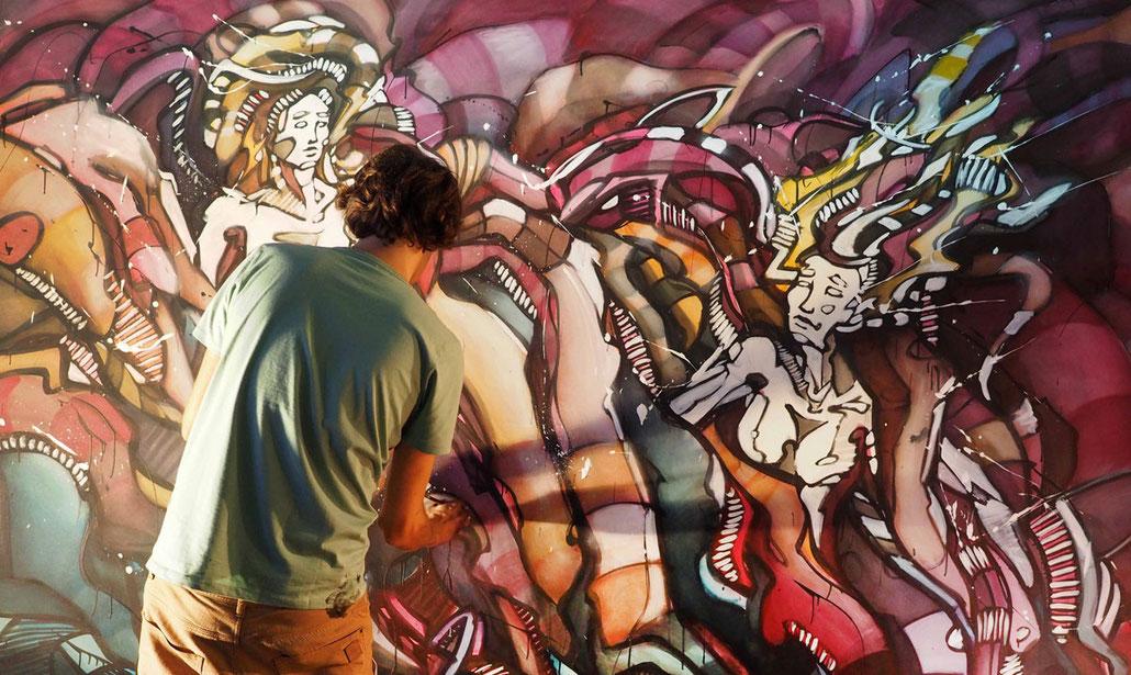 Matt.B, Peintures, performance, paintings, artiste, mattb, matthieu belleville, live painting, live, art, artcontemporain, street art, urban art, 100 détours, festival, zoufris maracas, zebda
