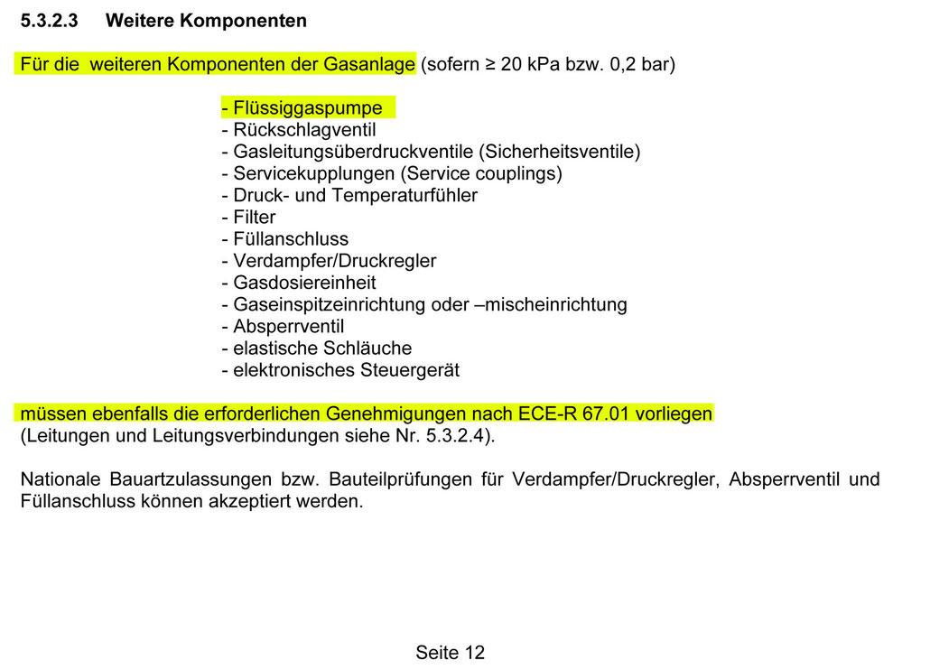 Der Auszug des TÜV-Merkblatts hebt heraus, dass eine ECE R67.01 Homologation für LPG-Pumpen zum Betrieb in Autogasanlagen vorgeschrieben ist