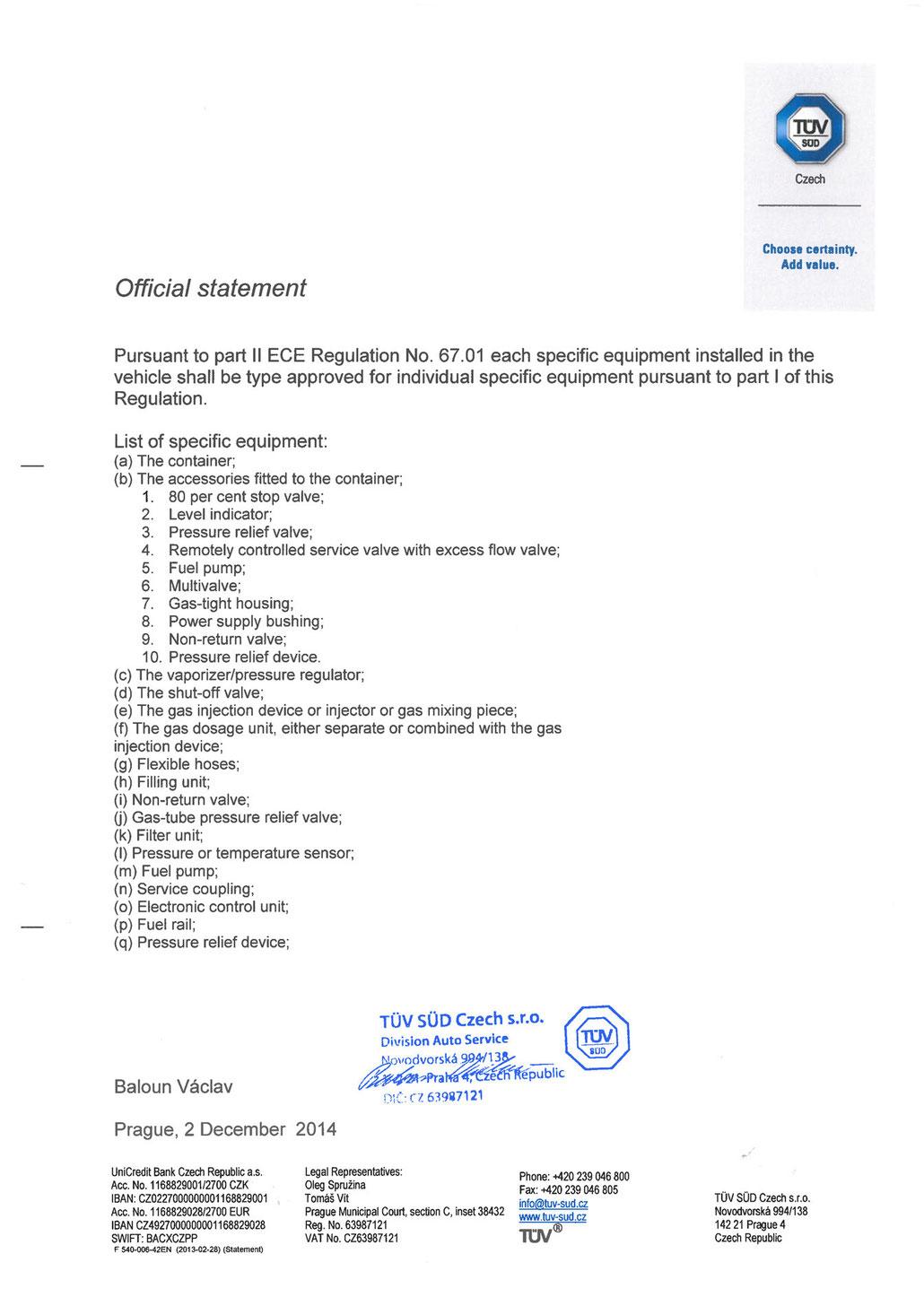 Offizielles Statement des TÜV Süd zur ECE R67.01 Norm die beinhaltet, dass LPG-Pumpen eine Homologation nach R67.01 benötigen