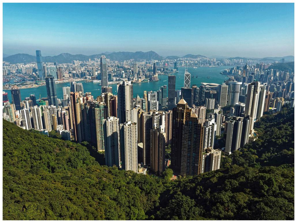 "Hongkong - Blick von ""The Peak"" auf Hongkong Island und Kowloon"