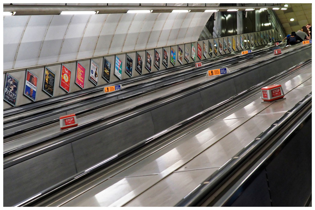 Rolltreppen in der Londoner Subway