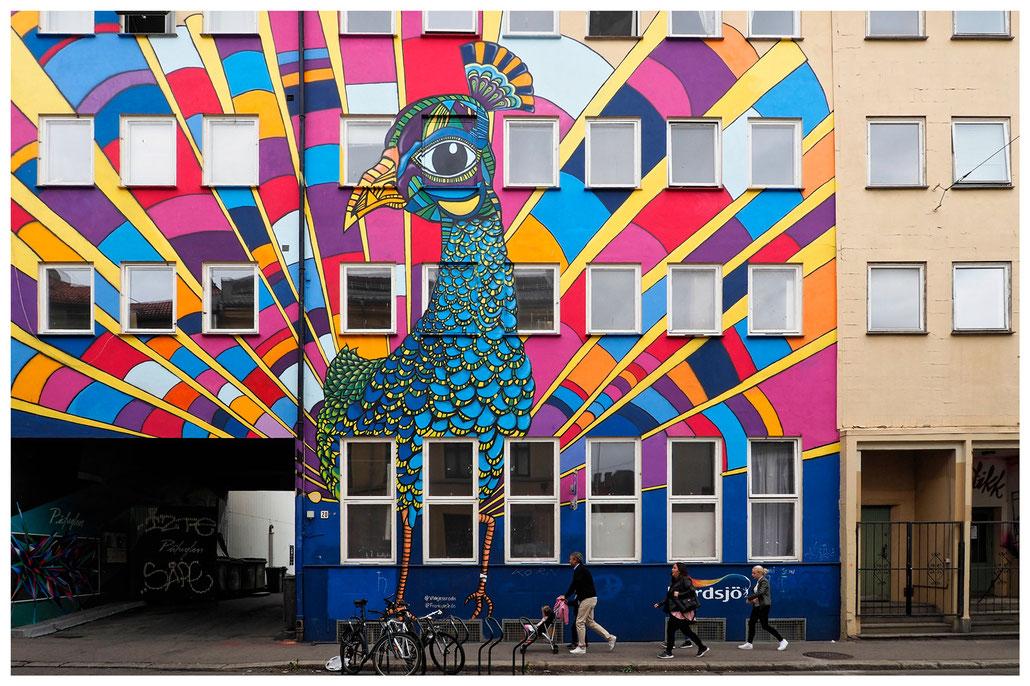 prächtiges Wandbild im Osloer Stadtteil Grünerlokka