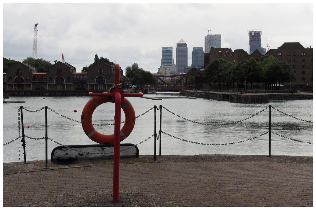 Das ehemalige Hafenbecken London Docks im Londoner East End
