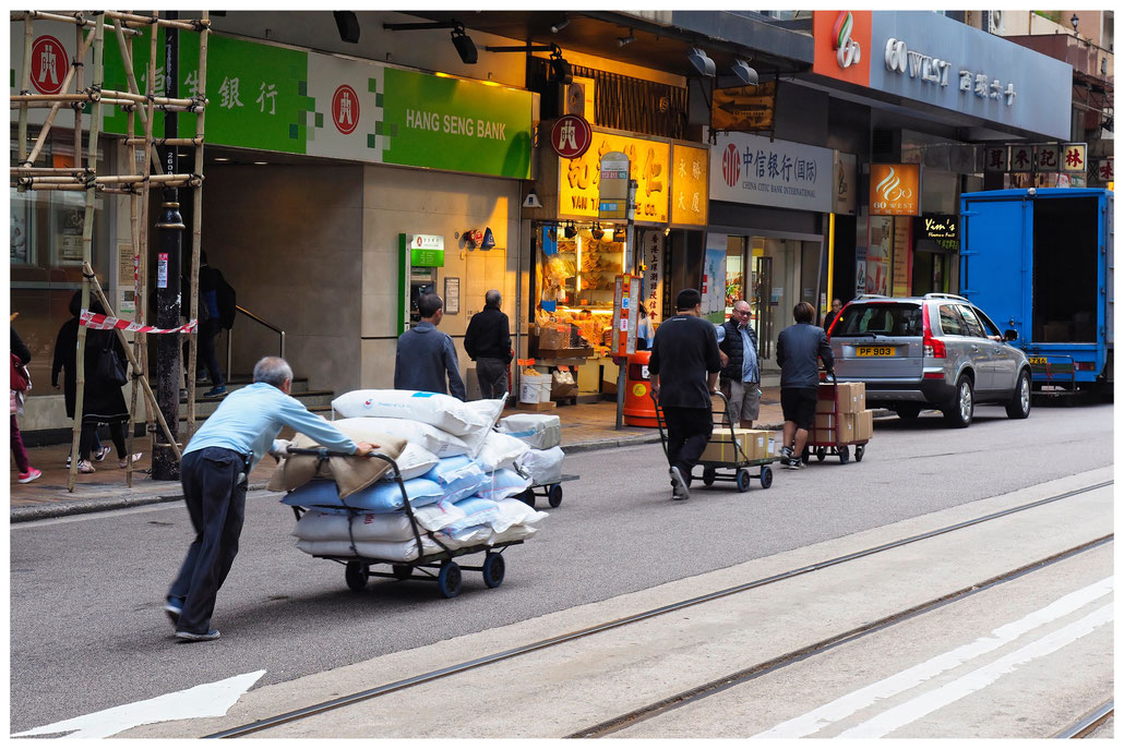 Hongkong - Sheung Wan - Des Voeux Road West - Karrenschieber