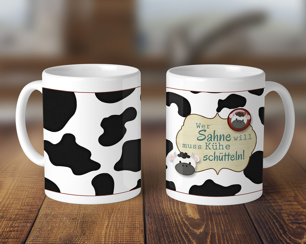 Kaffeetasse bedruckt Kühe schütteln Geschenkideen