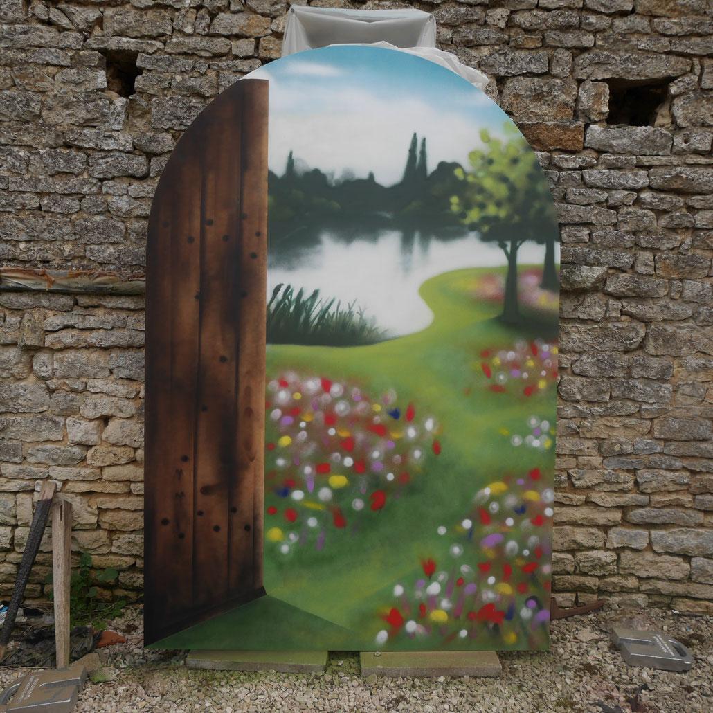 fresque-trompe-l'oeil-décors-peinture-paysage-fausse-porte
