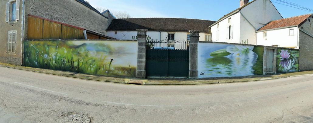 fresque-murale-paysage-fleur-eau-coron-côte-d'or