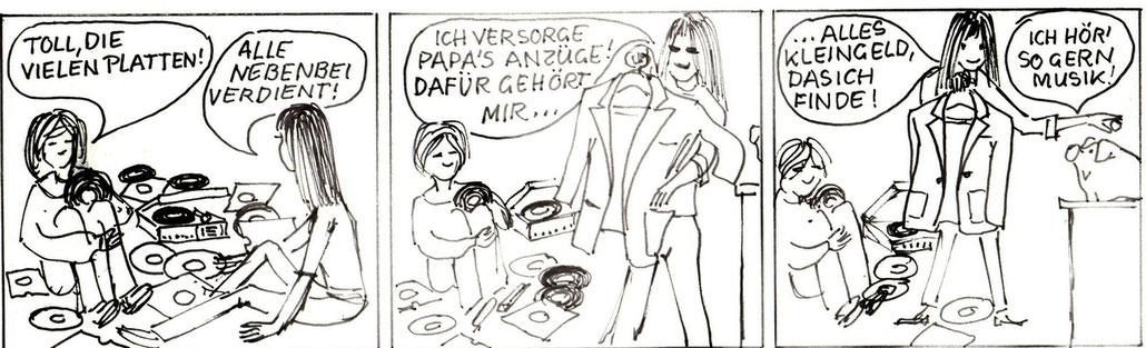 Jugendliche mit Schallplatten: Familie Groschenbauch – die Sparschwein-Familie der Zentralsparkasse. Entwurf für ein Inserat von Heinz Traimer.