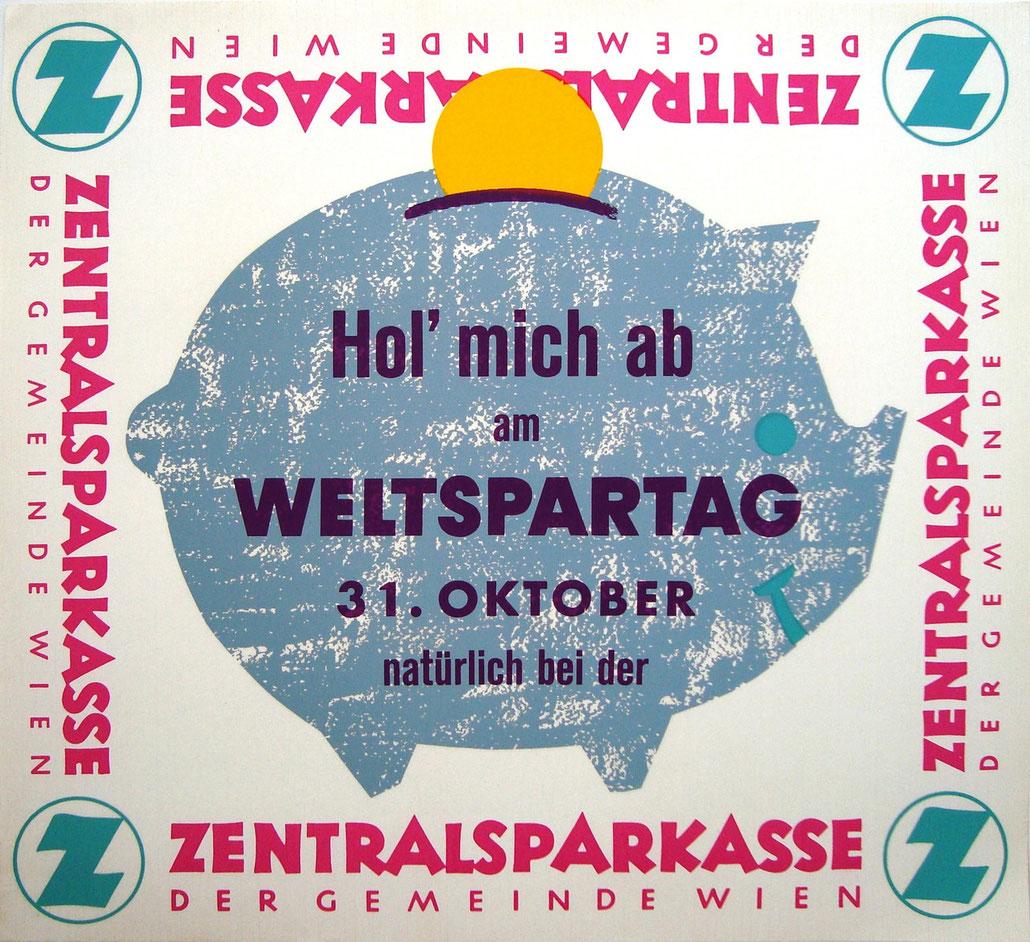 Sparschwein der Zentralsparkasse. Weltspartags-Werbung von 1972.