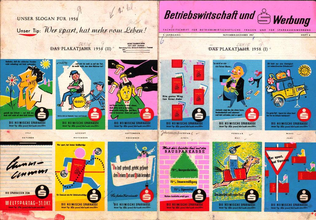 Sparkassenwerbung Österreich 1950 er Jahre.