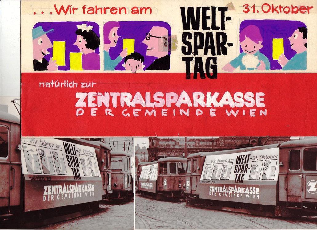 Wiener Strassenbahn. Wagon der Wiener Linien mit Weltspartags-Plakat der Zentralsparkasse. Um 1957.