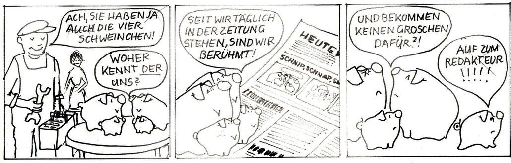 Sparschweine der Zentralsparkasse der Gemeinde Wien. Gestaltung von Heinz Traimer. Bankwerbung von 1973.