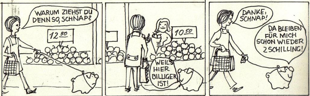 Sparwerbung: Familie Groschenbauch – die Sparschwein-Familie der Zentralsparkasse. Entwurf für ein Inserat von Heinz Traimer.