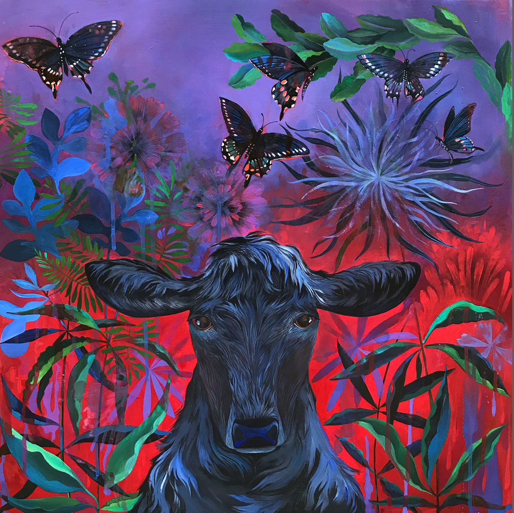 Nightshade Botanical Bovine Painting 24 x 24 original art