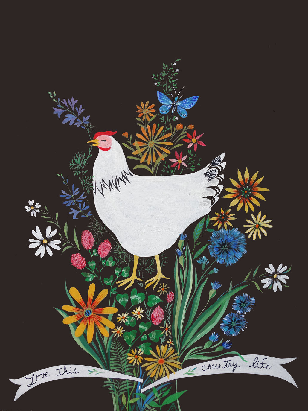 White Hen and Bouquet of Flowers 18 x 24 original Folk Art painting by Ande Cook