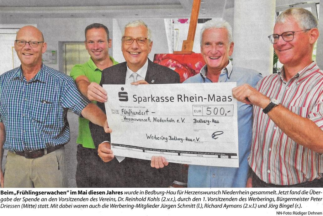 Spendenübergabe des Werbering Bedburg-Hau an den Verein Herzenswunsch Ndrh e.V.
