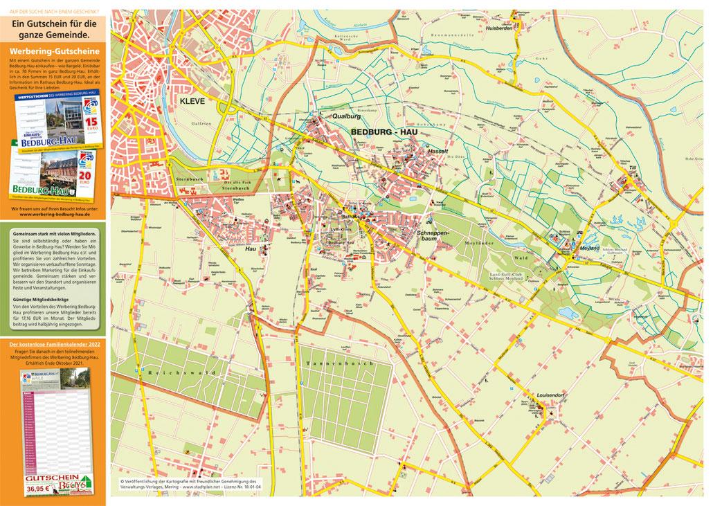Der Gemeindeplan im neuen Faltflyer 2021/2022 der Gemeinde Bedburg-Hau.